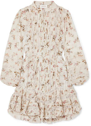 Zimmermann Whitewave Lace-paneled Printed Crinkled-georgette Mini Dress - Cream
