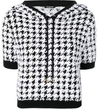 Balmain houndstooth print hooded top