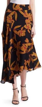 A.L.C. Lev Silk Floral Midi Skirt
