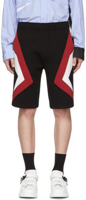 Neil Barrett Black and Red Stripe Shorts