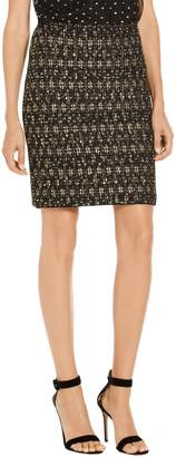 St. John Gilded Eyelash Patterned Inlay Knit Skirt
