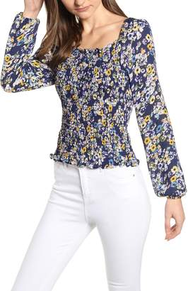 Cupcakes And Cashmere Confetti Blooms Smocked Blouse