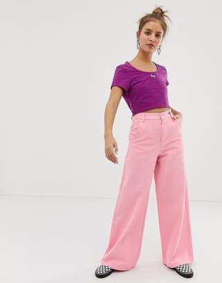 Lazy Oaf wide leg jeans with floral embroidery