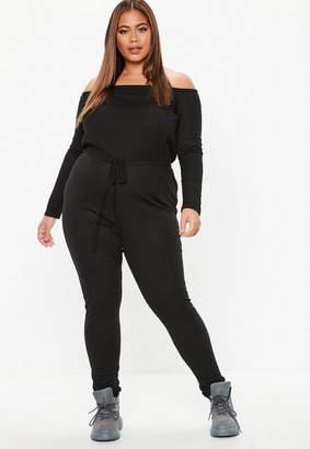 a3426365424d Missguided Plus Size Black Ribbed Bardot Jumpsuit