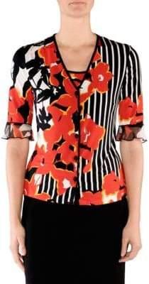 Stizzoli, Plus Size Floral Stripe Cardigan