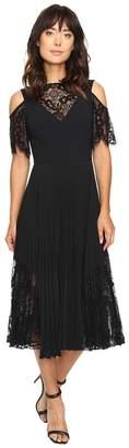 Nicole Miller Danielle Pleated Glazed Lace Combo Dress Women's Dress