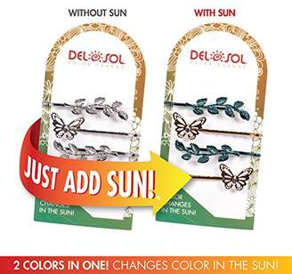 Girl's Color-Changing Hair Pins by Del Sol - Butterfly and Leaves Hair Pins - Changes Color in the Sun