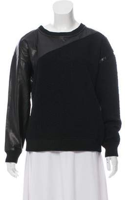 Ohne Titel Leather-Trimmed Long Sleeve Top