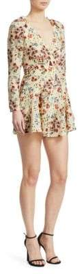 Maje Inora Floral Silk Playsuit