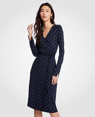 Ann Taylor Dot Button Cuff Wrap Dress