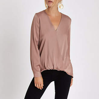 River Island Dark pink wrap tuck front long sleeve blouse