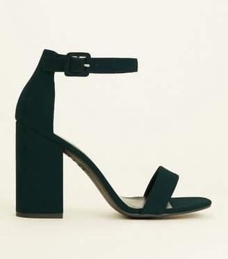 New Look Dark Green Suedette Barely There Block Heels