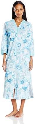 Miss Elaine Women's Interlock Knit Zip Robe