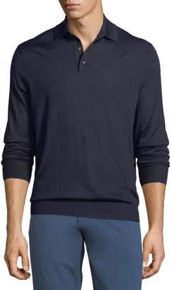 Ermenegildo Zegna Cashmere-Blend Polo Long-Sleeve Shirt