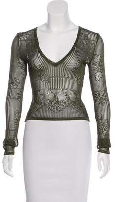 Christian Dior Long Sleeve Open-Knit Top
