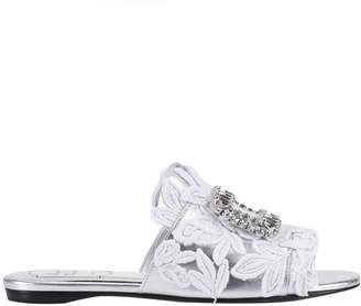 Roger Vivier Flat Sandals Laminated Slipper Rabat With Guipure Pattern And New Crystal Buckle