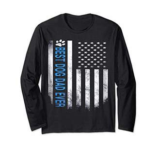 Best Dog Dad Ever American Flag Long Sleeve Tee for Men
