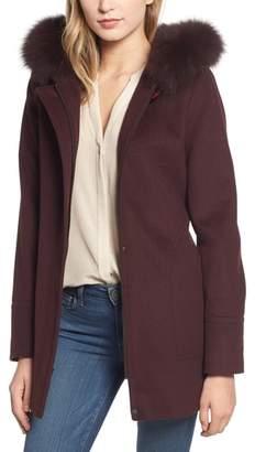 Kristen Blake Genuine Fox Fur Trim Hooded Wool Coat