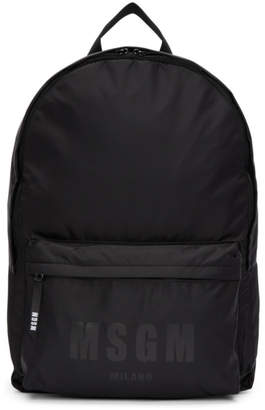 MSGM Black Logo Backpack