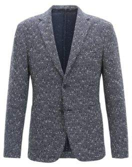 BOSS Hugo Slim-fit blazer in a structured cotton 42R Open Blue