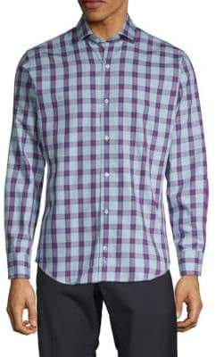 Tailorbyrd Checked Long-Sleeve Button-Down Shirt