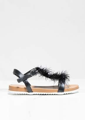 9552562651d7 Missy Empire Missyempire Grecia Black Fur Trimmed Flat Sandal
