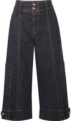 See by Chloe Cropped High-rise Wide-leg Jeans - Mid denim