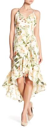 Doe & Rae Ruffle Trim Floral Hi-Lo Dress
