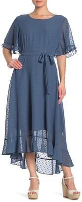 &.Layered Ruffle Sleeve Keyhole Back Dress