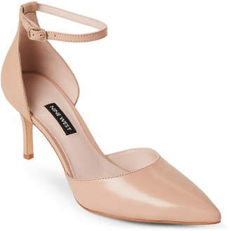 Nine West Nude Marisa Ankle Strap Leather Pumps