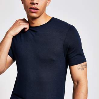 River Island Mens Navy slim fit T-shirt