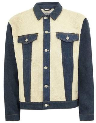 Topman Mens Blue Mid Wash Cut And Sew Borg Denim Jacket