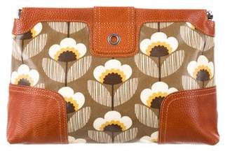 Orla Kiely Leather-Trim Printed Clutch