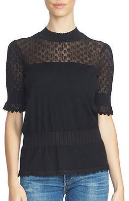 1 State Short Sleeve Pointelle Yoke Peplum Sweater $99 thestylecure.com
