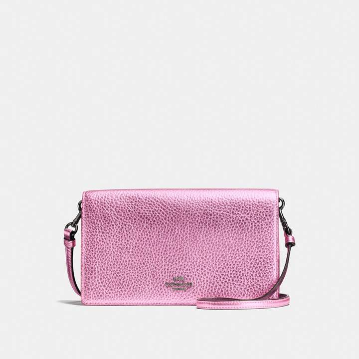 Coach New YorkCoach Foldover Crossbody Clutch - METALLIC BLUSH/DARK GUNMETAL - STYLE