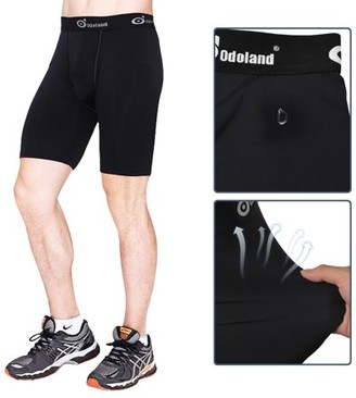 Odoland Men's Sports Tights Compression Pants Boxer Briefs Short Leggings Baselayer Breathable Cool Dry 3 size