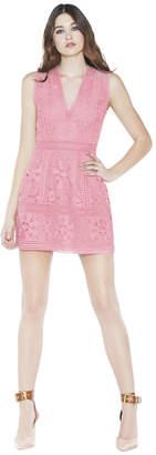Alice + Olivia Zula Lace Combo V-Neck Party Dress