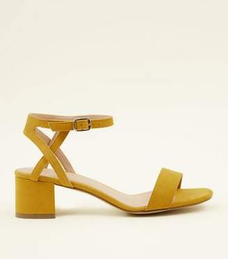 New Look Girls Mustard Suedette Block Heel Sandals