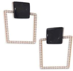 Roberto Coin Sauvage Prive 18K Rose Gold, Black Jade& Diamond Square Earrings