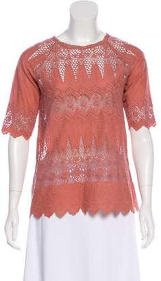 Ulla Johnson Crocheted Short Sleeve Top