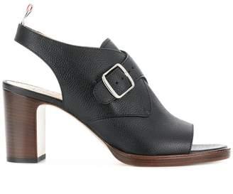 Thom Browne Single Monkstrap Peep Toe With Contrast Stacked Block Heel (7.5 Cm) In Pebble Grain