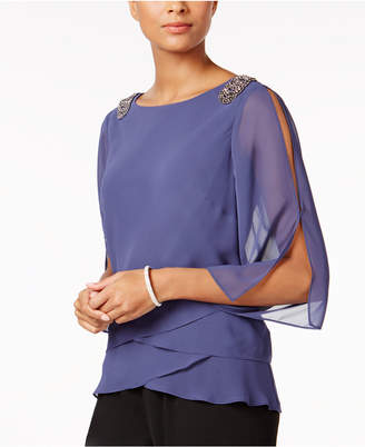 Alex Evenings Embellished Tiered Chiffon Blouse $129 thestylecure.com