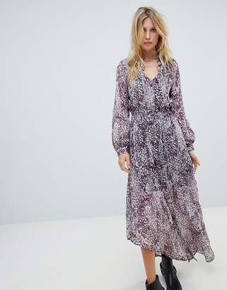 Religion button up maxi dress in grunge leopard