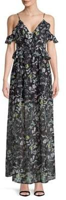 BCBGeneration Ruffled Floral Print Cold-Shoulder Maxi Dress