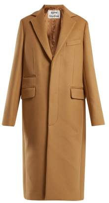 Acne Studios Single Breasted Wool Blend Coat - Womens - Beige