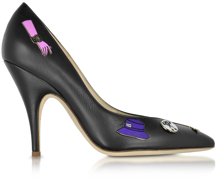 Moschino Moschino Black Leather Pumps w/Pins