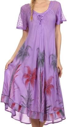 Sakkas 14610New - Kai Palm Tree Caftan Tank Dress / Cover Up