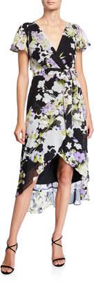 Chetta B Floral High-Low Faux Wrap Dress
