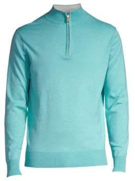 Peter Millar Men's Crown Quarter Zip Soft Knit Sweater - Navy - Size Small