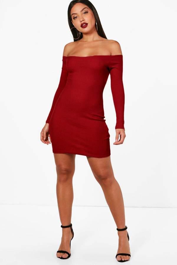 boohoo Lacey Rib Off Shoulder Bodycon Dress